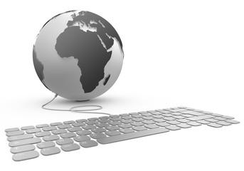 Planète terre cannectée à un clavier 3d