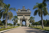 view of patuxai arch in vientiane, laos, asia poster