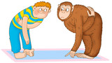 boy doing gymnastics, depicting a chimpanzee