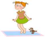 little girl jumps like a sparrow on a gymnastic mat