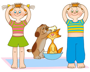 little girl,boy,kitten and puppy are washing