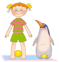 little girl and penguin on a mat