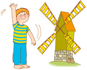 The boy waves hands, as a windmill