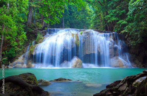 Plakat Erawan wodospad, Kanchanaburi, Tajlandia