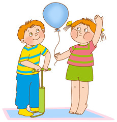 little boy and girl represent the pump and the balloon