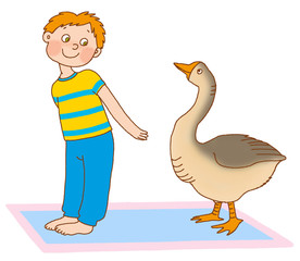 little boy represents the goose