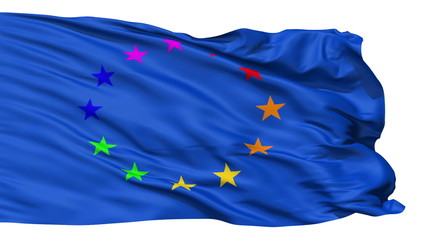 Realistic 3D detailed Europe gay flag in the wind