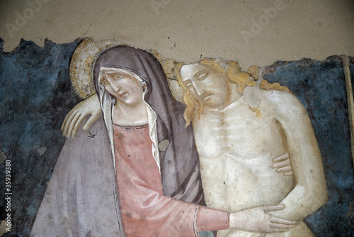 fresco in from San Minitao Church Florence Italy
