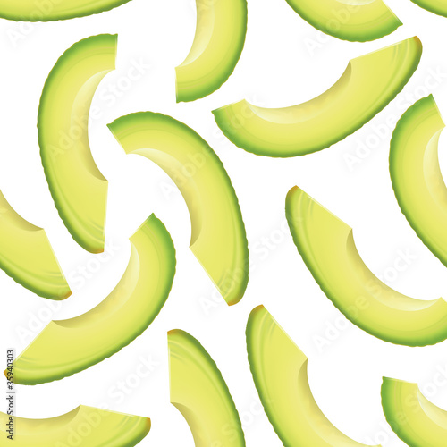 Thinly sliced pieces avocado.