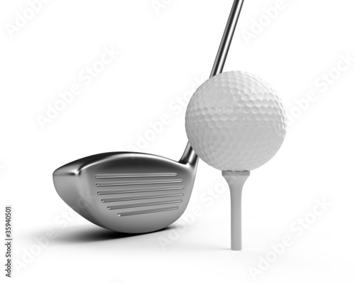 Golf club and ball isolated on white background