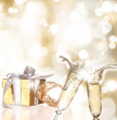 Champagne glasses with golden background