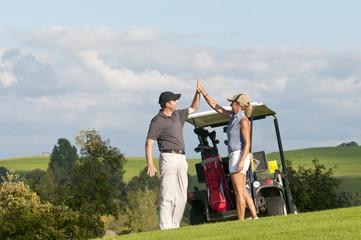 Freude beim Golfspiel