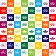 set of colored crown icons