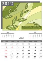 June. 2012 Calendar.