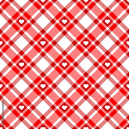 Tuinposter Stof Seamless Pattern Red Check Heart Diagonal