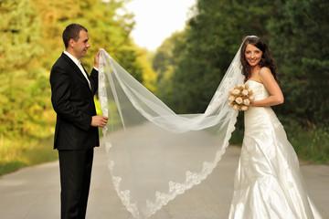 beauty, couple, lifestyle, long, wedding, veil, young