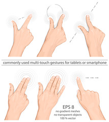 Vector set of commonly used multitouch gestures