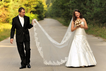 beauty, couple, outdoor, road, romantic, walking,