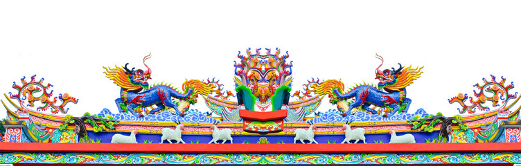 Chinese style dragon and sheep statue on roof