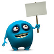 blue monster holding blank board