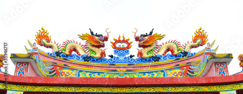 Chinese style dragon statue on roof