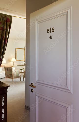 Interior luxury hotel, door open