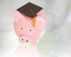 piggy bank with graduation cap ( education costs )