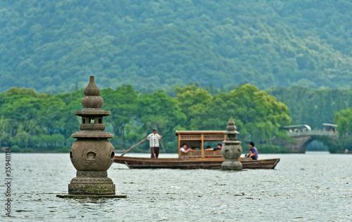 Boat on a lake, China - 35948114