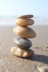 Five stones pyramid near the sea