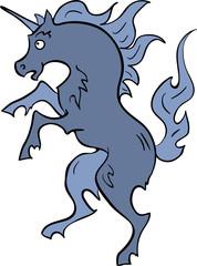 Heraldic blue unicorn