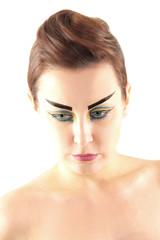 Portrait of beautiful woman with stylish make-up
