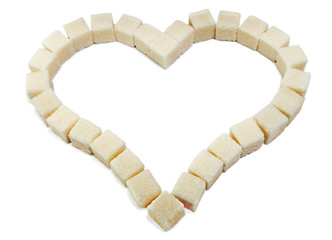 Heart from slices of the white refined sugar..