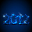 Vector blue New Year card 2012