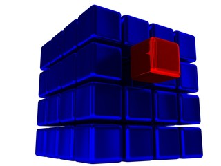 Red cube among set of blue cubes