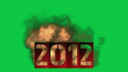 2012 new year with fire (greenscreen)