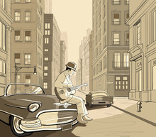 guitarist in an old street of New york