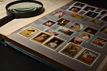 Open album with stamps