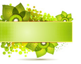 Green banner with kiwi slices over white background