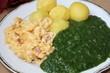 rüherei mit spinat und kartoffeln