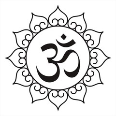 aum syllable, water lily motif design, Hinduism, India