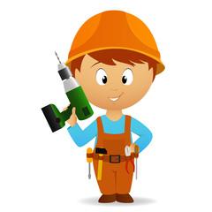 Cartoon handyman with tools belt and drill