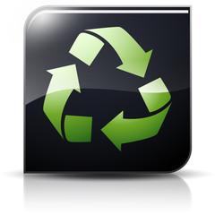Symbole glossy vectoriel flèche recyclage