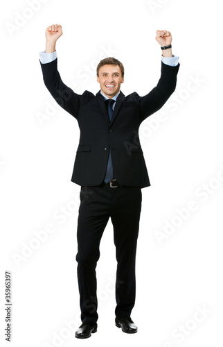 Happy successful gesturing businessman, on white