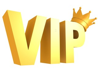 vip golden text with crown