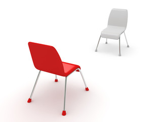 two chairs on white. dialogue business concept