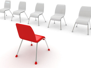 Leadership concept with red chair