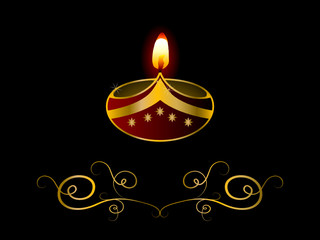 Black Diwali background with lamp