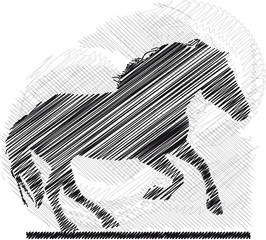 Sketch of abstract horses. Vector illustration