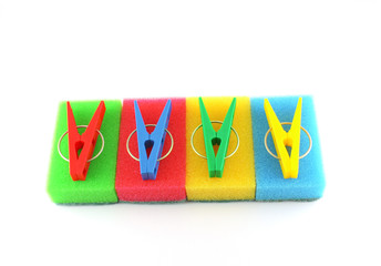 Color sponges and clothes-pegs
