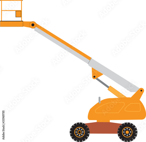 An Orange and Grey Cherry Picker Platform